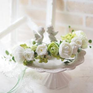 フラワークラウンケーキ、花冠、アーティフィシャルフラワー、ケーキスタイルの花冠、初心者でも簡単に出来る花冠、ブライダル、ブートニア、認定講座